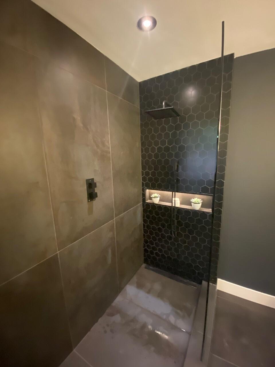 dark colour scheme renovated stand up tile shower lee carter plumbing
